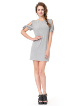 Grey Short Sleeve Crew Neck Loose T-Shirt Dress With Cutout Shoulders - $36.00