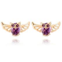 Owl Ear Studs Purple Zircon 18K Gold Galvanized - €8,79 EUR