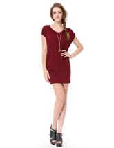 Womens Burgundy Short Sleeve Scoop Neck T-Shirt Dress UK - $30.00