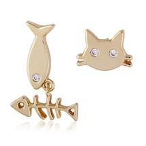 18K Gold Galvanized Austrian Zircon Ear Studs Cat Fish - €8,79 EUR