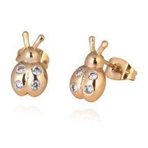 Galvanized Austrian Zircon Ear Studs Ladybird   white - €8,79 EUR