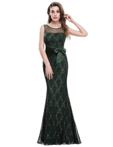 Forest Green Mermaid Lace Embellished Prom Dress With Ruched Waist - $106.00