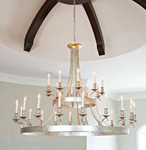"53""H x 65"" X Large 2 Tier Silver & Gold Leaf 30 Light Chandelier Foyer, ... - $5,890.50"