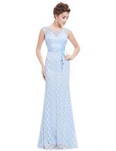 Sky Blue Floor Length Sleeveless Mermaid Dress With Lace Embellished - $98.00