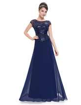 Navy Blue Chiffon Sequin Bodice Cap Sleeves Mother Of The Bride Dress - $98.00