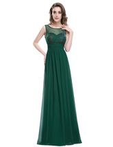 Emerald Green Chiffon Sleeveless Dress With Jewel Embellished Bodice - $92.00