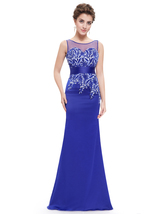 Royal Blue Mermaid Sleeveless Dress With Lace Embellished Sheer Back - $108.00
