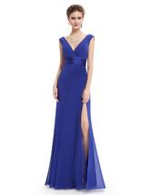 Royal Blue V Neck Sleeveless Chiffon Column Dress With Pleated Bodice - $88.00