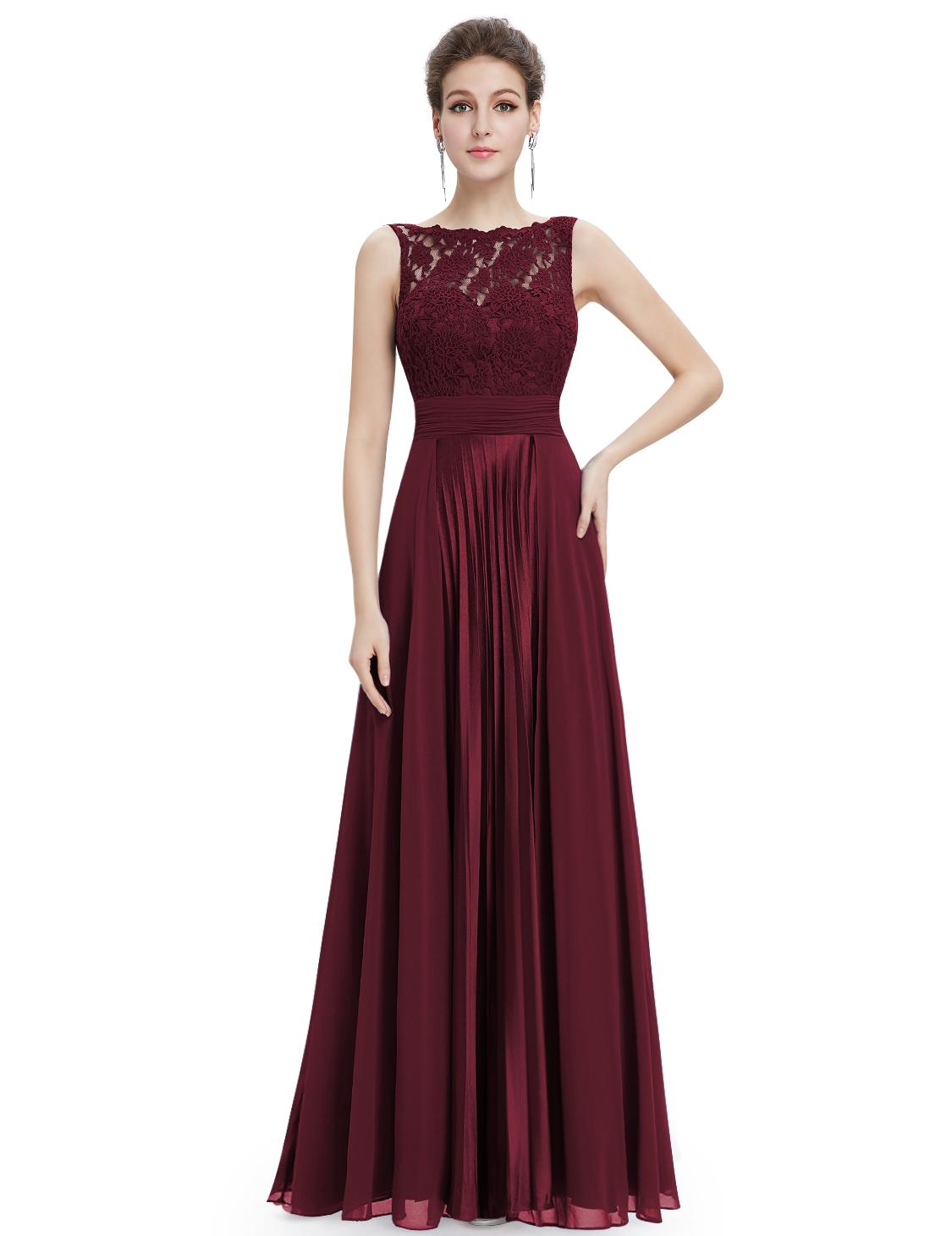 Burgundy Chiffon Sheer Illusion Neckline Lace Bodice Dress With Ruching - $120.00