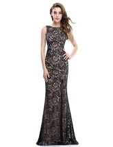 Elegant Champagne Sleeveless Side Split Dress With Black Lace Overlay - $98.00