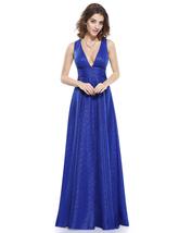 Gorgeous Royal Blue V Neck Plunge A-Line Long Sleeveless Evening Dress - $105.00