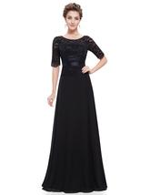 Black Chiffon Bateau Lace Embellished Bodice Dress With Short Sleeves - $98.00