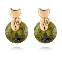 Small Cat Ear Studs   gold plated green zircon - €8,79 EUR