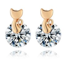 Small Cat Ear Studs    gold plated white zircon - €8,79 EUR
