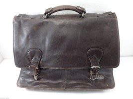 Kenneth Cole NY Brown Leather Briefcase Distress Look No Shoulder Strap - $83.30