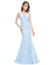 Sky Blue Lace Overlay Mermaid Plunging Sweetheart Neckline Prom Dress - $95.00