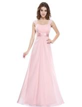 Pink Chiffon Sleeveless Ruched Long Bridesmaid Dress With Sheer Back - $92.00