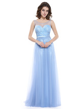 Sky Blue Lace Embellished Sweetheart Neckline Dress With Sheer Top - $95.00