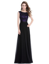Elegant Long Purple And Black Chiffon Prom Dress With Lace Embellished - $98.00