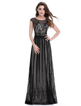 Black Floor Length Cap Sleeves Prom Dress With Lace Embellished Bodice - $98.00
