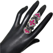 Ruby Gemstone 14k Gold Pave 2.98ct Diamond Silver Armor Knuckle Ring Jew... - $1,226.95