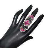Ruby Gemstone 14k Gold Pave 2.98ct Diamond Silver Armor Knuckle Ring Jew... - $1,226.95