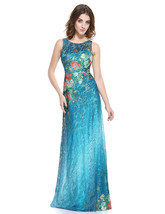 Teal Blue Floral-Print Sleeveless Lace Overlay Embellished Prom Dress - $102.00