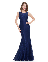 Navy Blue Mermaid Prom Dress With Illusion Lace And Open Keyhole Back - $92.00