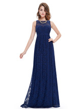 Navy Blue Sweetheart Neckline With Lace Overlay Embellished Prom Dress - $89.00