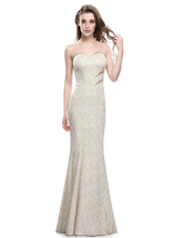 Champagne Mermaid Embroidered Sleeveless Dress With Illusion Bodice - $106.00