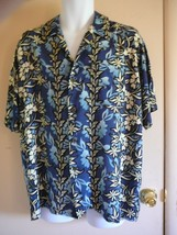 Men Pineapple Connection Hawaiian Shirt M Short Sleeve Blues 100% Rayon Floral - $14.84