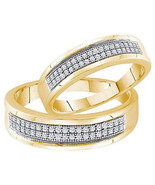 Ladies Mens 0.25CT Real Diamond Gold Fin Weddin... - $237.59