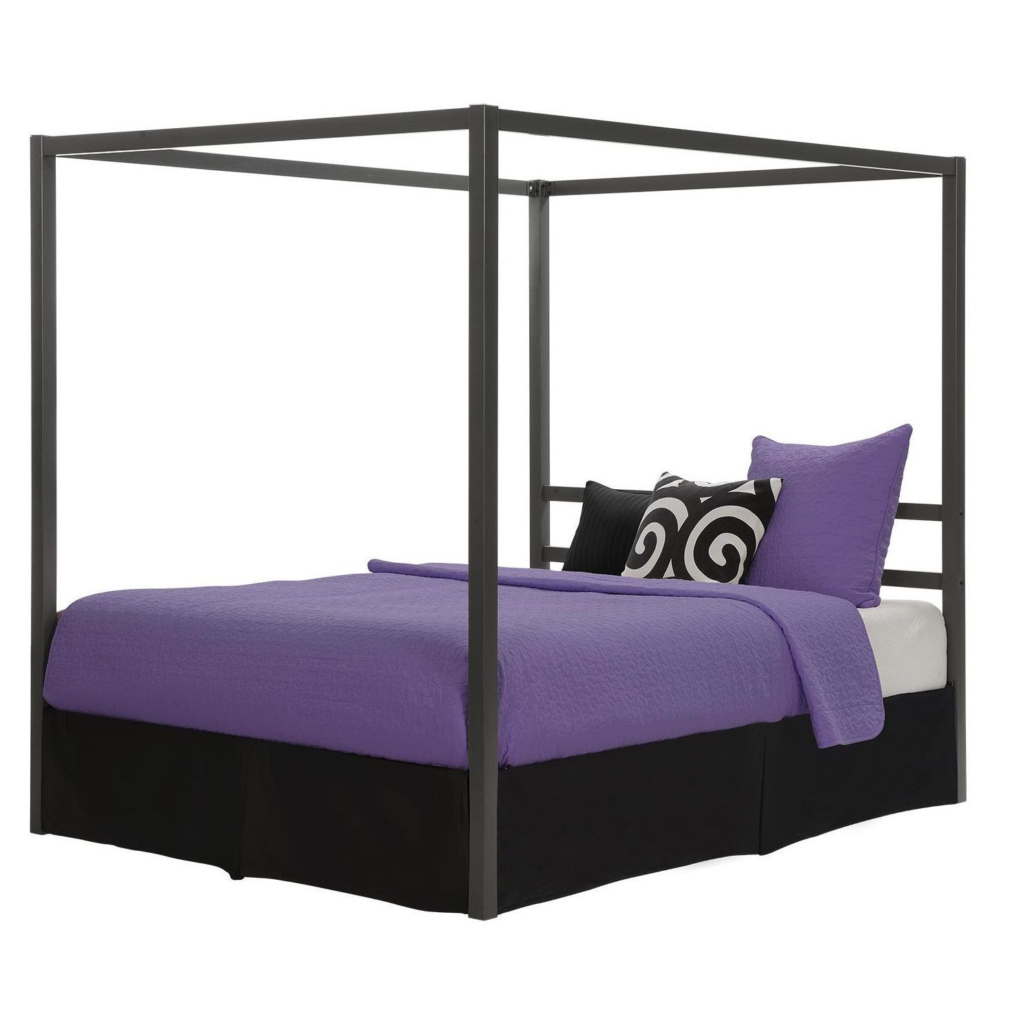 Queen Canopy Bed Frame Sturdy Metal Frame Slat Support