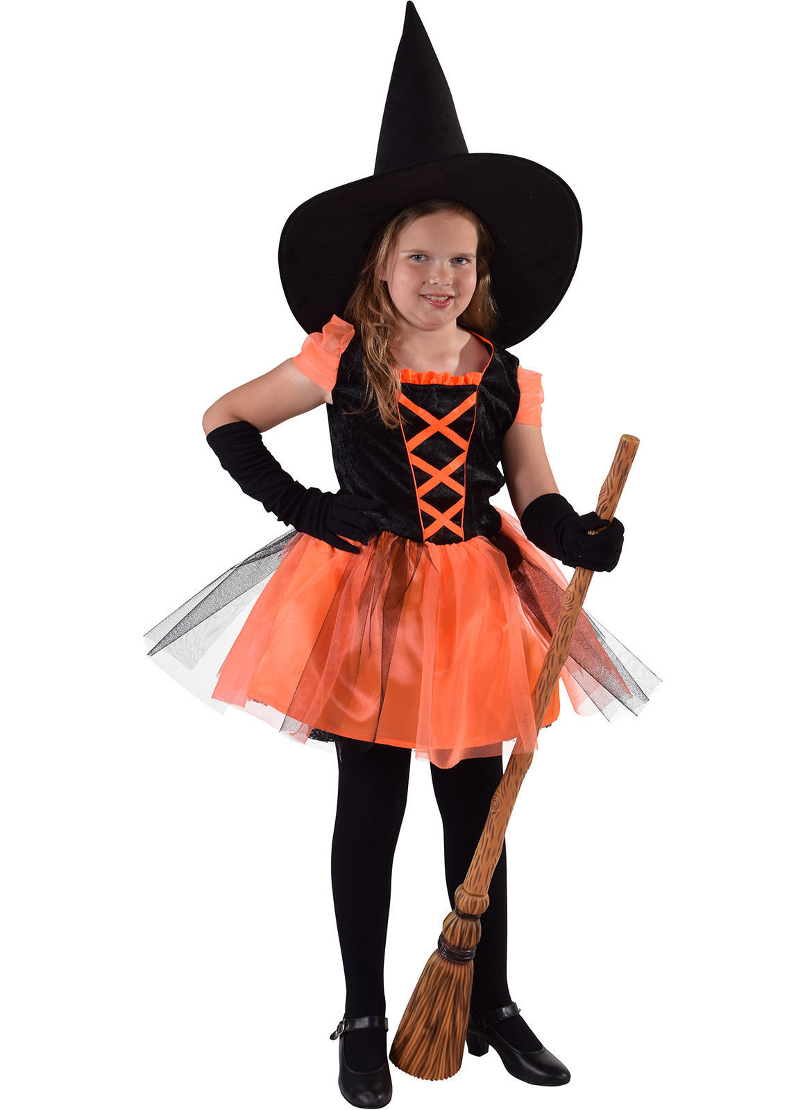 Kids Deluxe  Black / Orange Witch   - ages 3 to 14