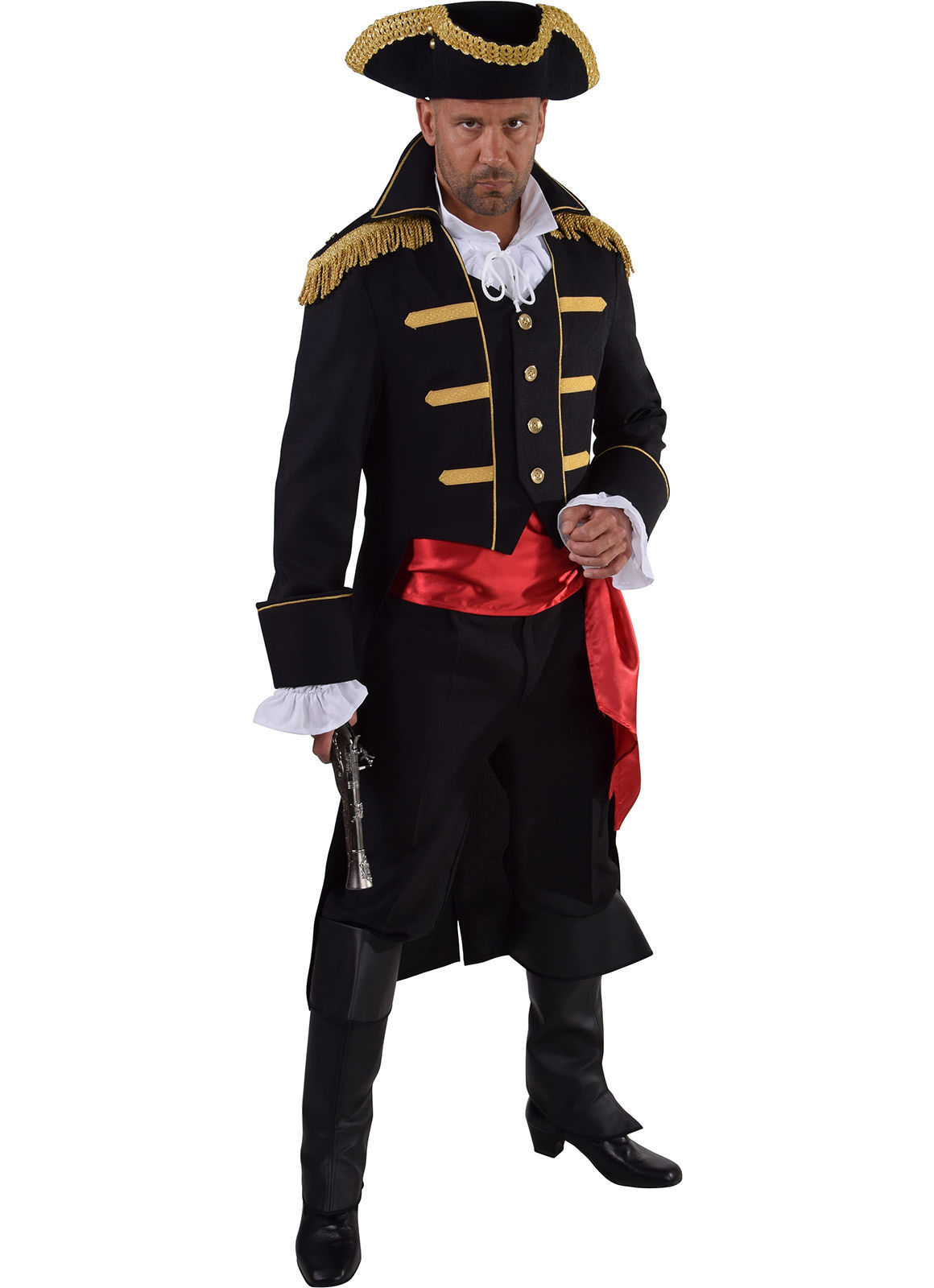 "Admiral Jacket - Black / Gold - Pirate/ Period / New Romantic   - 38-50"" chest"