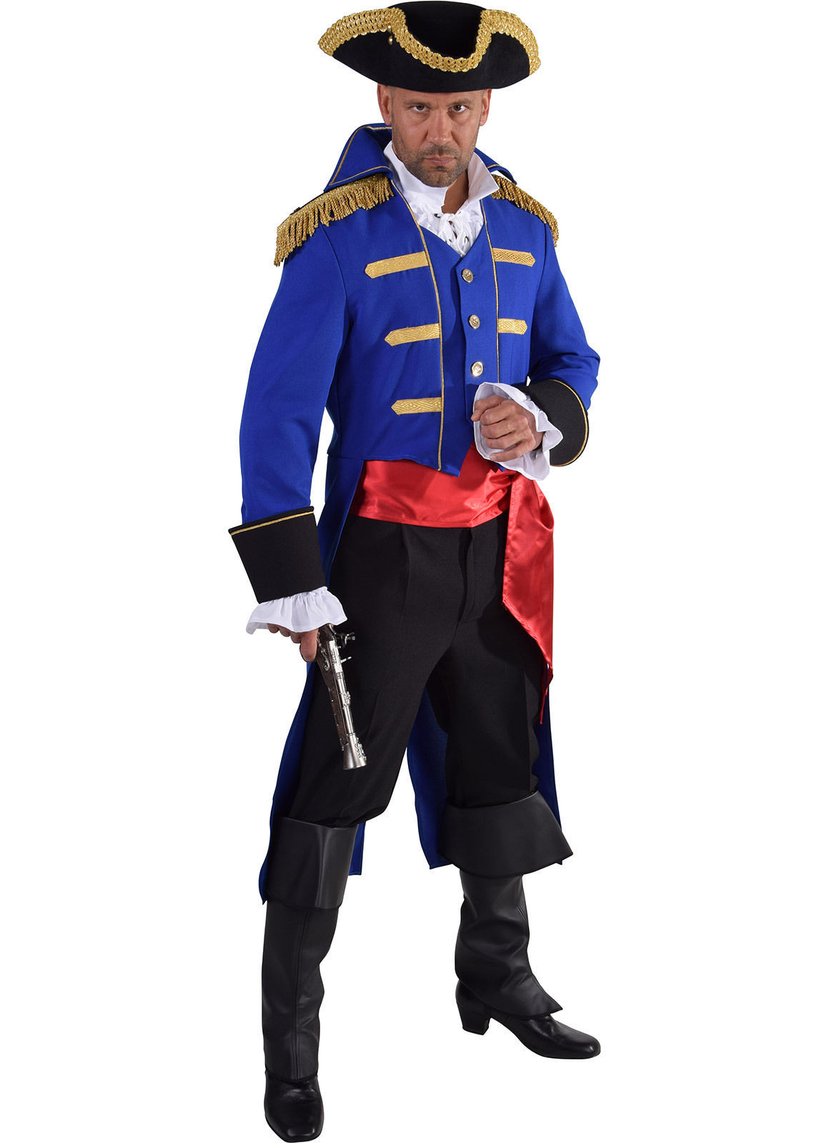 "Admiral Jacket - BLUE / Gold - Pirate/ Period / New Romantic   - 38-50"" chest"