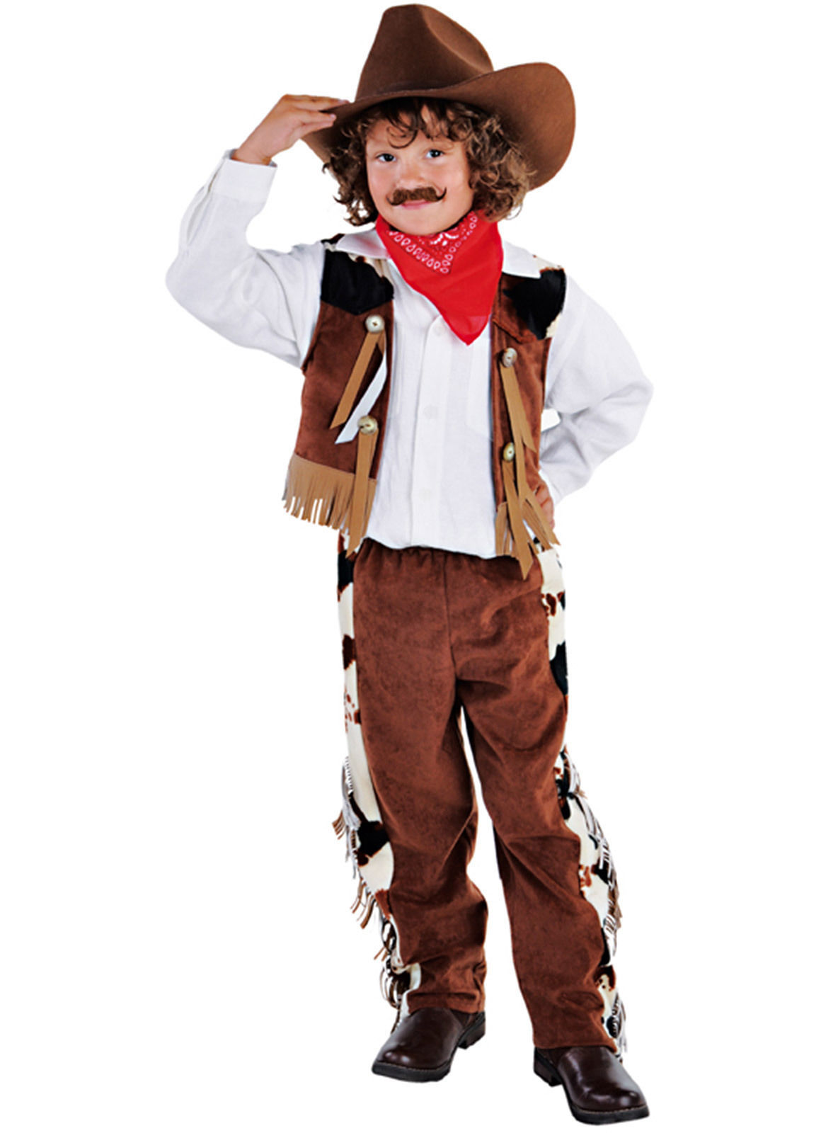Boys  -  Brown / Cow print  Cowboy  Costume   - ages 3 to 14