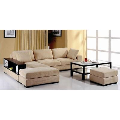 BH Telus Beige Sectional Left Hand Chaise Fabric Upholstery Modern Style