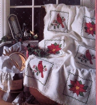 CROSS STITCH CHRISTMAS MARY ENGELBREIT HARDANGER CHALLAH CLOTH GIFTS AFG... - $7.98