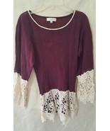 Umgee BOHO CHIC  Purple / Ivory Crochet Trim 3/... - $9.99