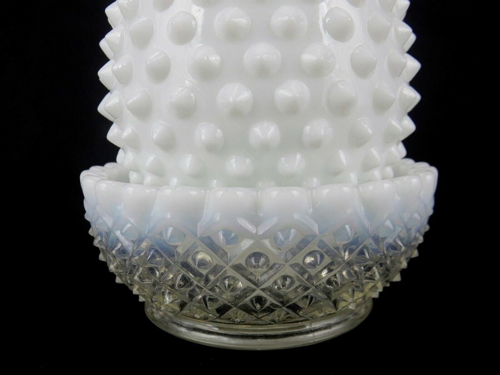 Fenton Candle Holders, White Hobnail Milk Glass Hurricane,Modern Farmhouse Decor