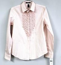 Ralph Lauren Blouse Womens M Striped LRL Button Down Pink White Ruffle N... - $50.00