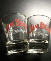 Jim Beam Racing Shot Glass Set of Two Clear Glass with Red and White Print - $11.99