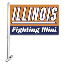 Illinois Fighting Illini Car Truck Premium Flag Window Banner + Pole + m... - $11.26