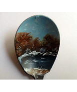 Vintage Spoon Magnet, Oil Painting, Winter Pond... - $25.00