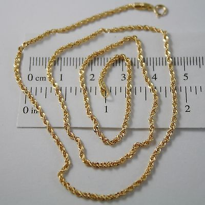 18K YELLOW GOLD CHAIN NECKLACE, BRAID ROPE LINK 19.7 INCHES, MADE IN ITALY
