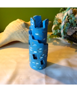 Blue Medieval Castle, hand crafted, wrap around... - $9.77