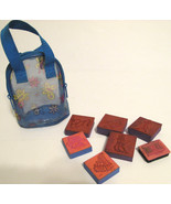 Rubber Ink Stamps Set of 8 in a Blue Butterfly Plastic Mesh Bag - $6.46