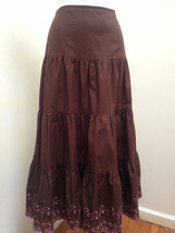 Piace S Skirt Brown Tiered Long A Line Pink Embroidered Border Peasant Boho - $19.58