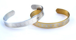 2pc Bracelet Star of David Jewish Wristband Stainless-Silver/gold Color ... - $11.97